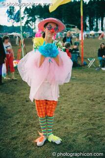 A lady clown at Big Green Gathering 2003. Cheddar, Great Britain. © 2003 Photographicon
