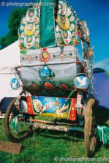 Colourfully pained rickshaw at Big Green Gathering 2003. Cheddar, Great Britain. © 2003 Photographicon