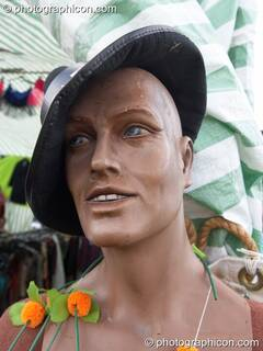 A shop dummy wearing a hat at Big Green Gathering 2005. Burrington, Cheddar, Great Britain. © 2005 Photographicon
