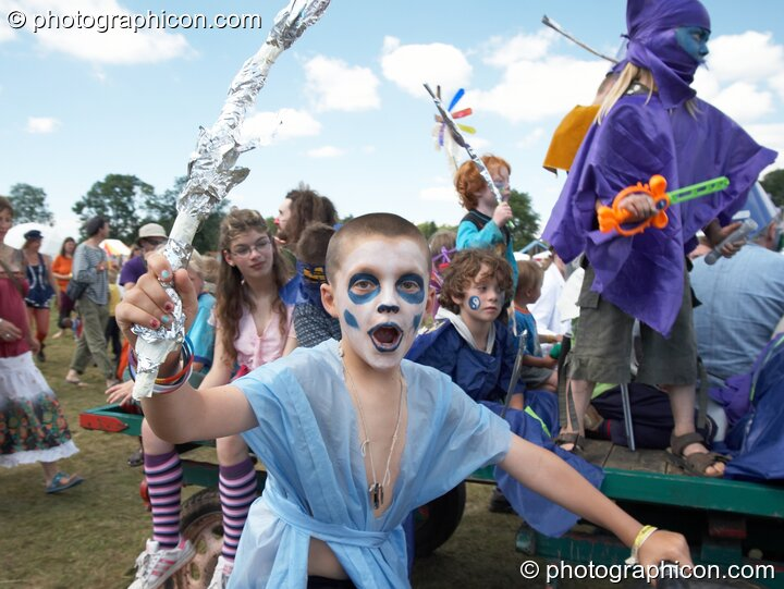 A group of kids dressed in costume on parade at Big Green Gathering 2005. Burrington, Cheddar, Great Britain. © 2005 Photographicon