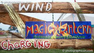 A wind powered phone charging stall in the Green Crafts field at Big Green Gathering 2006. Burrington, Cheddar, Great Britain. © 2006 Photographicon