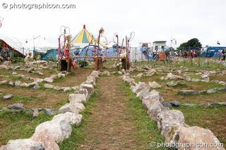 A stone labyrinth laid out on the grass at Big Green Gathering 2007. Burrington, Cheddar, Great Britain. © 2007 Photographicon