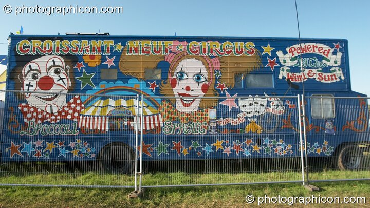 The amazingly painted Croissant Neuf Circus truck at Big Green Gathering 2007. Burrington, Cheddar, Great Britain. © 2007 Photographicon