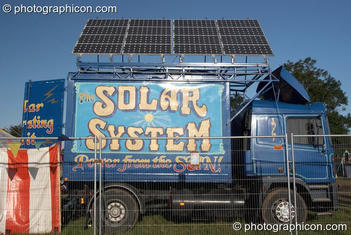 Croissant Neuf's solar energy truck at Big Green Gathering 2007. Burrington, Cheddar, Great Britain. © 2007 Photographicon