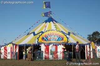 The Croissant Neuf circus tent at Big Green Gathering 2007. Burrington, Cheddar, Great Britain. © 2007 Photographicon