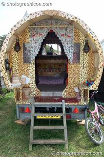 A highly decorated gypsy-style caravan at Big Green Gathering 2007. Burrington, Cheddar, Great Britain. © 2007 Photographicon