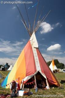 A tipi made and painted by Zac at Big Green Gathering 2007. Burrington, Cheddar, Great Britain. © 2007 Photographicon