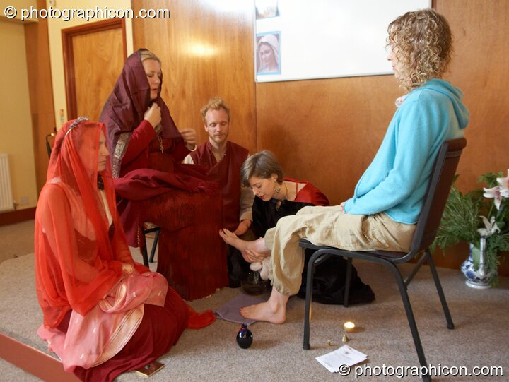Ritual washing of feet at the Feast of the Magdalene. Glastonbury, Great Britain. © 2005 Photographicon