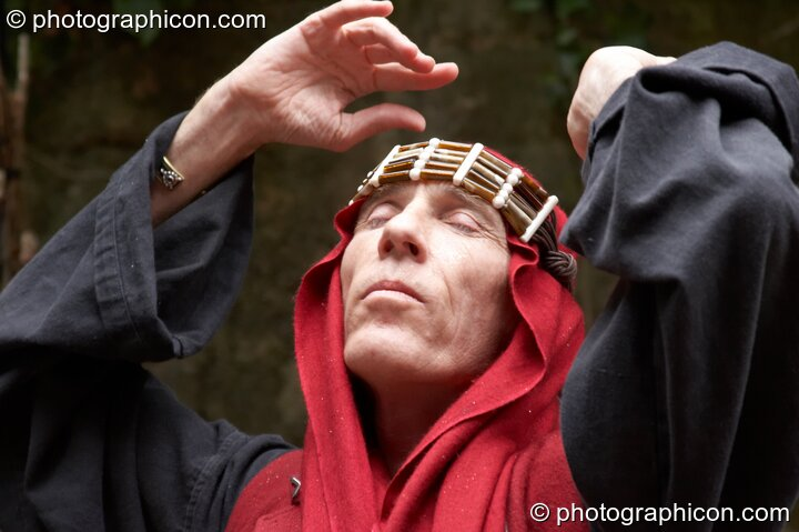 A man performs a ritual dance to Mary Magdelene & Yeshua at the Feast of the Magdalene. Glastonbury, Great Britain. © 2005 Photographicon
