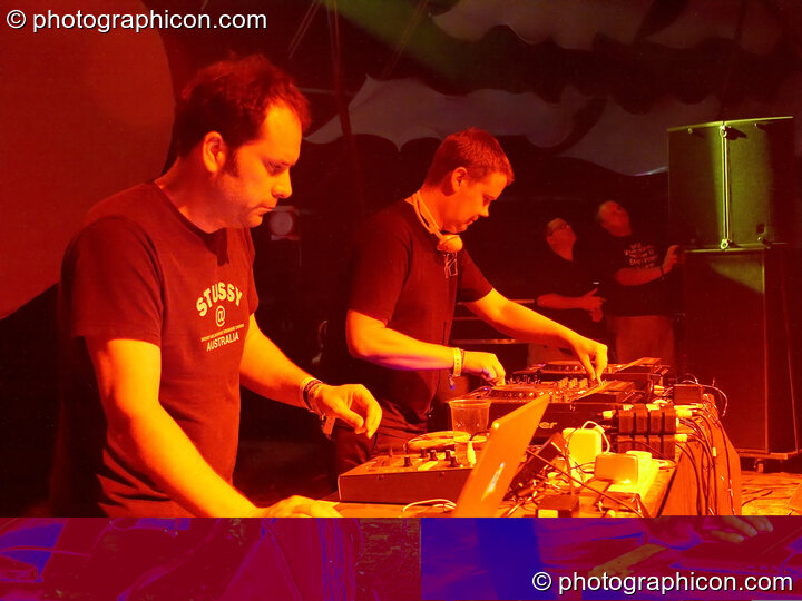 Stuart Warren Hill and Robin Brunson of Hexstatic multi-media mixing on the Main Stage at Glade Festival 2005. Aldermaston, Great Britain. © 2005 Photographicon