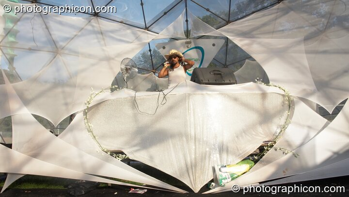 Pathaan DJing in the IDSpiral dome at Glade Festival 2006. Aldermaston, Great Britain. © 2006 Photographicon