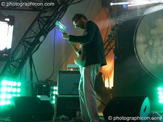 Mikael Simpson of Trentemoller (Poker Flat Recordings) performs amongst beams of coloured light on the Glade Stage at Glade Festival 2007. Aldermaston, Great Britain. © 2007 Photographicon