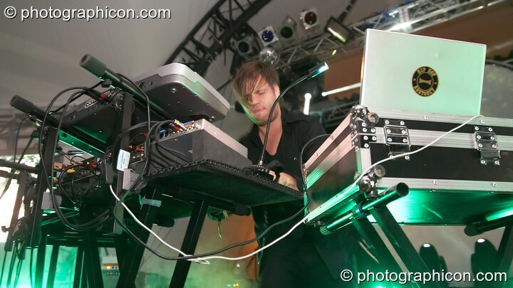 Anders Trentemoller of Trentemoller (Poker Flat Recordings) performs on the Glade Stage at Glade Festival 2007. Aldermaston, Great Britain. © 2007 Photographicon