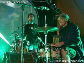 Mikael Simpson and Henrik Vibskov of Trentemoller (Poker Flat Recordings) perform on the Glade Stage at Glade Festival 2007. Aldermaston, Great Britain. © 2007 Photographicon