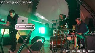 Anders Trentemoller, Mikael Simpson, and Henrik Vibskov of Trentemoller (Poker Flat Recordings) perform on the Glade Stage at Glade Festival 2007. Aldermaston, Great Britain. © 2007 Photographicon