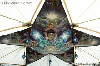 Artwork hanging in the Nectar Temple at Glade Festival 2007. Aldermaston, Great Britain. © 2007 Photographicon