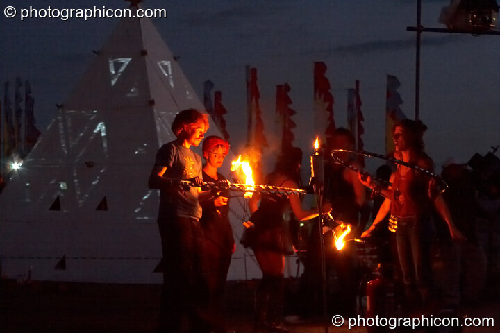 The Fire Show and burning of the pyramid at Glade Festival 2011. King's Lynn, Great Britain. © 2011 Photographicon