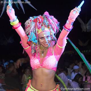 Psychedelic performance artist Kwalilox dances with her crystal wands outside the Origin Stage at Glade Festival 2005. Aldermaston, Great Britain. © 2005 Photographicon