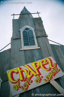 The Chapel of Love or Loathe in the Lost Vaguess field at Glastonbury Festival 2002. Pilton, Great Britain. © 2002 Photographicon