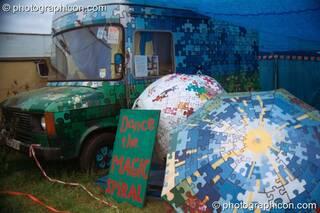 The Magic Spiral camp covered in a striking jig-saw emblem at Glastonbury Festival 2002. Pilton, Great Britain. © 2002 Photographicon