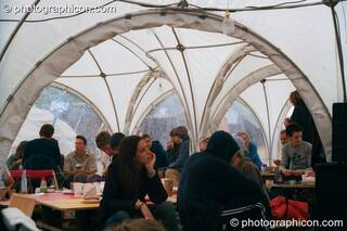 An unusually arched cafe tent at Glastonbury Festival 2002. Pilton, Great Britain. © 2002 Photographicon