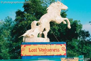Sculpture of a horse in the Lost Vagueness field at Glastonbury Festival 2003. Pilton, Great Britain. © 2003 Photographicon