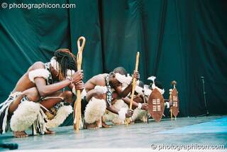 African dancers with Ziyaya on stage at Glastonbury Festival 2003. Pilton, Great Britain. © 2003 Photographicon