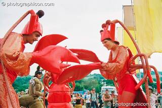 Man and woman dressed in lobster outfits at Glastonbury Festival 2003. Pilton, Great Britain. © 2003 Photographicon
