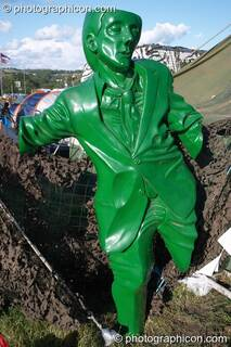 Sculpture of an armless man in the Green Future field at Glastonbury Festival 2004. Pilton, Great Britain. © 2004 Photographicon