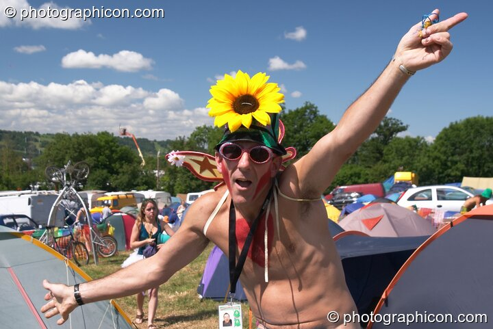 Man in costume from the Green Police at Glastonbury Festival 2004. Pilton, Great Britain. © 2004 Photographicon