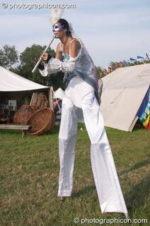The stilted piper of Avalon in the Green Futures field at Glastonbury Festival 2005. Pilton, Great Britain. © 2005 Photographicon