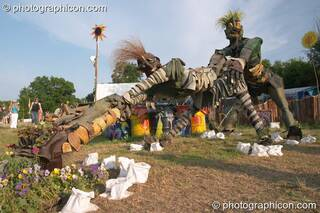 A sculpture made of old wellington boots by Wells Blue School in the Green Crafts field at Glastonbury Festival 2005. Pilton, Great Britain. © 2005 Photographicon