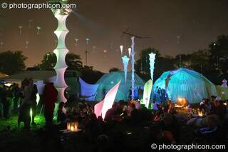 The exterior of the idSpiral area (Dance Village) by night at Glastonbury Festival 2005. Pilton, Great Britain. © 2005 Photographicon