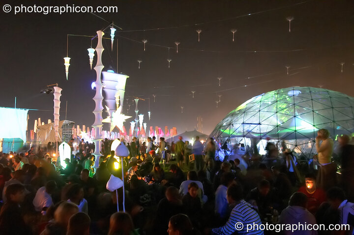 The exterior of the transparent idSpiral dome (Dance Village) by night at Glastonbury Festival 2005. Pilton, Great Britain. © 2005 Photographicon