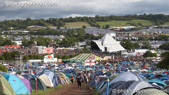 The pyramid stage surrounded by camping tents at Glastonbury Festival 2007. Pilton, United Kingdom. © 2007 Photographicon