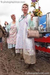 Two ladies sell tea from a trolley at Glastonbury Festival 2007. Pilton, Great Britain. © 2007 Photographicon