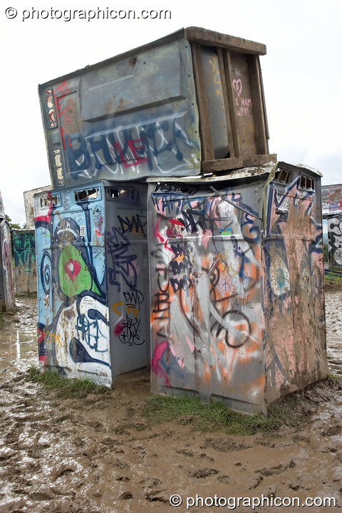 Bog Henge - a stack of burried plastic toilets - in the Kings Meadow at Glastonbury Festival 2007. Pilton, United Kingdom. © 2007 Photographicon
