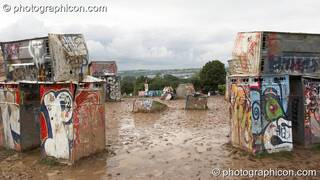 Bog Henge - a stack of burried plastic toilets - in the Kings Meadow at Glastonbury Festival 2007. Pilton, Great Britain. © 2007 Photographicon