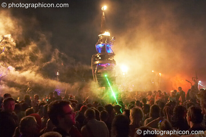 Fire and smoke leap from the Mutoid Waste's Arcadia Installation while Merv Pepler of Eat Static DJs in Trash City at Glastonbury Festival 2008. Pilton, Great Britain. © 2008 Photographicon