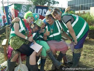 A team of Green Police pose for a photograph at Glastonbury Festival 2008. Pilton, Great Britain. © 2008 Photographicon
