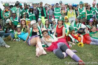 A group photo of Green Police outside their head quarters at Glastonbury Festival 2008. Pilton, Great Britain. © 2008 Photographicon