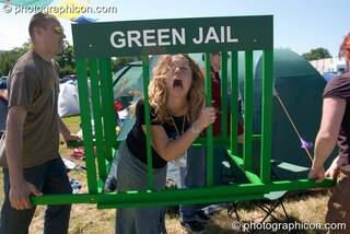 The Green Jail on tour with the Green Police at Glastonbury Festival 2004. Pilton, Great Britain. © 2004 Photographicon