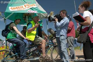 Des Kay, founder of the Green Police, interviewed by the BBC at Glastonbury Festival 2004. Pilton, Great Britain. © 2004 Photographicon