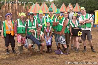 Group photo of the Green Police in King's Meadow at Glastonbury Festival 2005. Pilton, Great Britain. © 2005 Photographicon