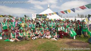 Group photo of the Green Police at Green HQ, Glastonbury Festival 2005. Pilton, Great Britain. © 2005 Photographicon