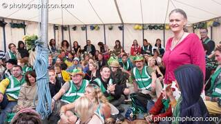 Bernadette Vallely talks to the Green Police meeting in their HQ at Glastonbury Festival 2007. Pilton, United Kingdom. © 2007 Photographicon