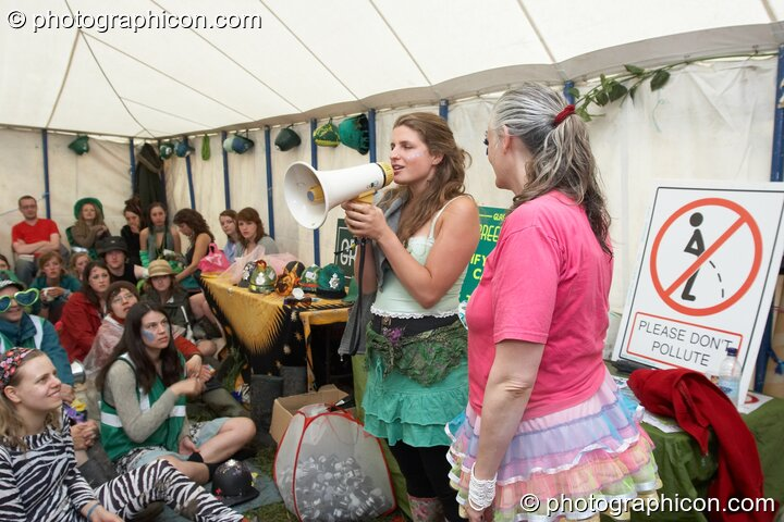 The Green Police meet in their HQ at Glastonbury Festival 2007. Pilton, United Kingdom. © 2007 Photographicon