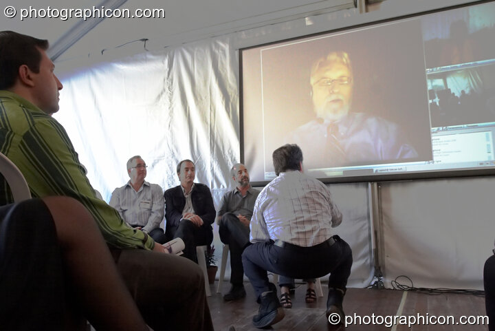 A group teleconference with Neale Donald Walsch at the Renaissance2 Great Shift Gathering 2009. Perpignan, France. © 2009 Photographicon