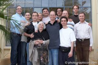 The Worldshift Alliance team at the Renaissance2 Great Shift Gathering 2009. Left to right, upper row: David Woolfson, Cullen Kowalski, Claudia Welss, Robin Wood, Darrell Laham, Hendryk Obenaus; lower row: Gareth Strangemore-Jones, Barbara Marx Hubbard, Graham Boyd, Dominic Search, Matthias Lehmann, Alain Gautier. Perpignan, France. © 2009 Photographicon