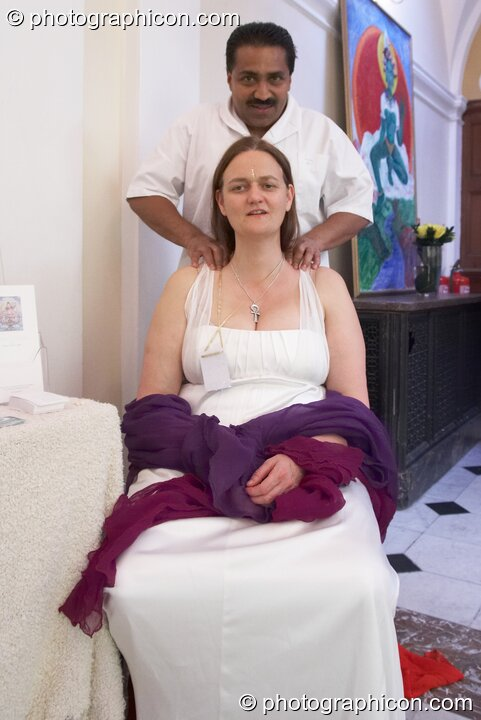 Bernadette Vallely has a massage at the London Festival of Tantra 2008. Great Britain. © 2008 Photographicon